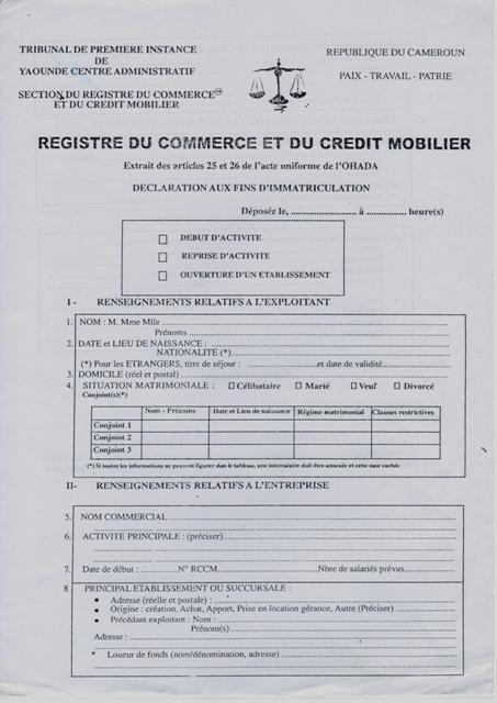 Eregulations douala - Extrait d immatriculation chambre des metiers ...