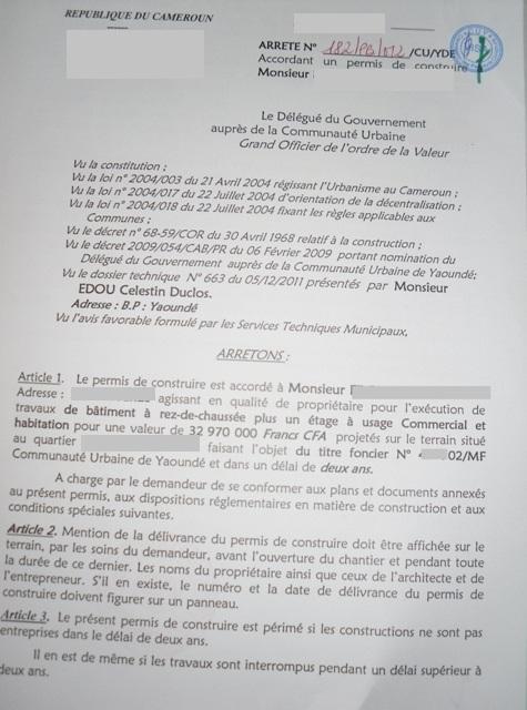 Eregulations douala for Permis de construire document
