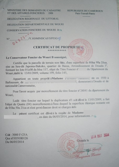 Eregulations douala - Titre de propriete terrain ...