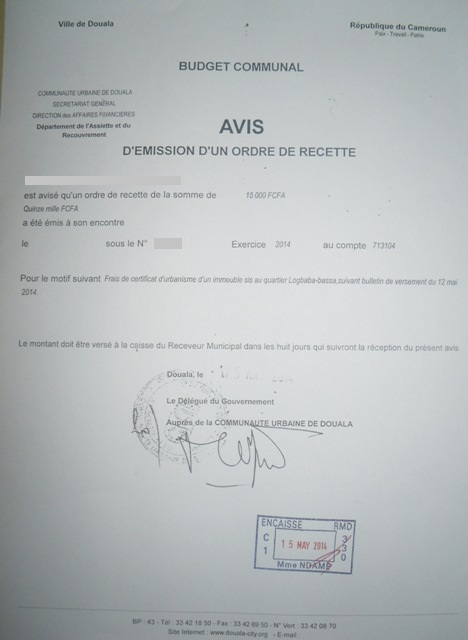 Eregulations douala for Cout d un permis de construire