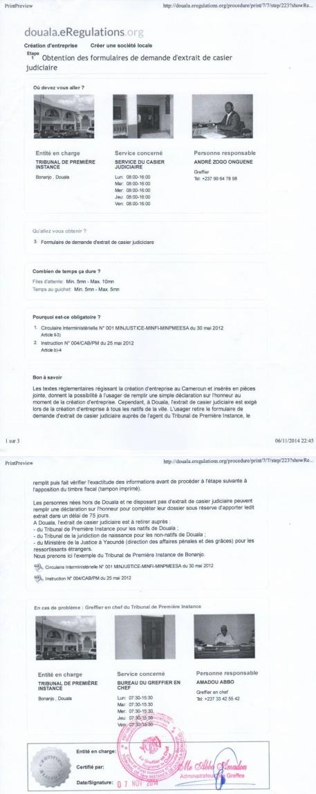 Eregulations Douala